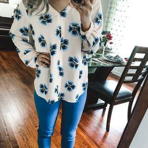 LOFT Tops - LOFT Pink Blue Floral Dress Blouse Small